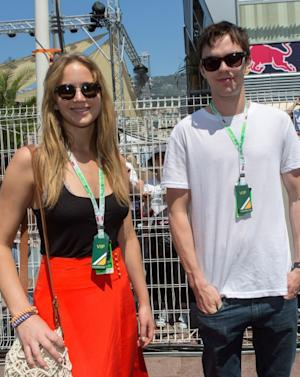 Jennifer Lawrence and Nicholas Hoult visit the Formula One paddock, Monte-Carlo, Monaco, on May 26, 2012 -- Getty Images