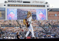 FILE - In this Aug. 28, 2008 file photo, singer Sheryl Crow performs on the last day of the Democratic National Convention at Invesco Field in Denver. Fewer celebrities is an emerging theme for the Democratic Convention this year. (AP Photo/Charles Dharapak)
