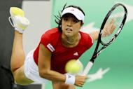 Japan's Morita Ayumi serves to her Russian opponent Ekaterina Makarova during their Fed Cup tennis quarter-final match in Moscow on February 9, 2013. Morita won 6-2, 6-2