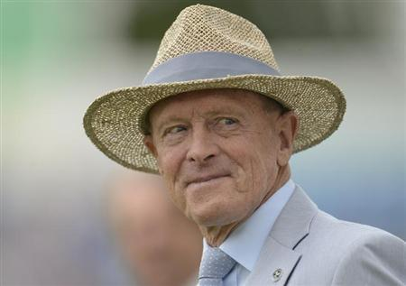 Former cricketer Geoffrey Boycott looks on during a lunchtime presentation during the second cricket test match between England and South Africa at Headingley cricket ground in Leeds August 2, 2012. R