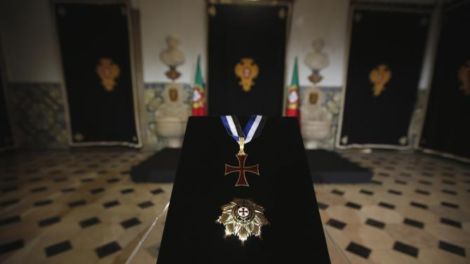 The medal of the Ordem do Infante Dom Henrique is seen before Portugal's soccer team captain Cristiano Ronaldo receives it in Lisbon