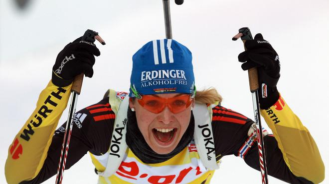 Magdalena Neuner Of Germany Smiles Bongarts/Getty Images