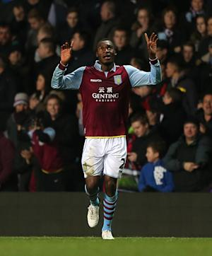 Christian Benteke celebrates scoring Aston Villa's winning goal
