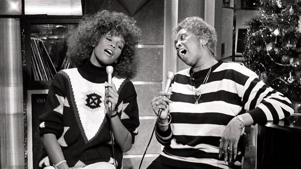 Whitney Houston and Cissy Houston appear during a taping of an MTV show in 1989 in New York City.