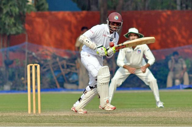 West Indies player S Chanderpaul in action during Day one of practice match between West Indies and Uttar Pradesh Cricket Association XI at the Jadavpur University Ground in Kolkata on Oct 31, 2013. (
