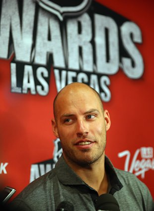 LAS VEGAS, NV - JUNE 23:  Ryan Getzlaf of the Anaheim Ducks attends the 2015 NHL Awards nominee media availability at MGM Grand Arena on June 23, 2015 in Las Vegas, Nevada.  (Photo by Bruce Bennett/Getty Images)
