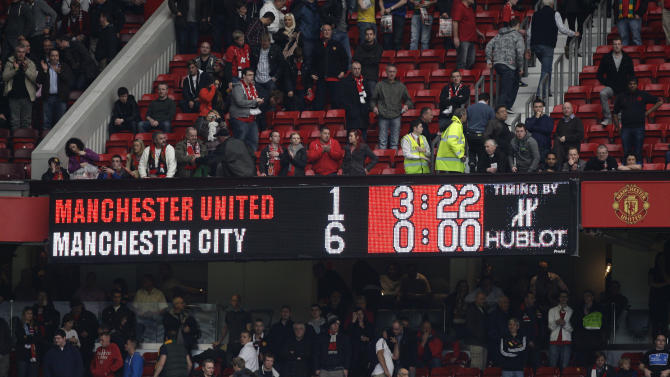 The scoreboard shows the score as Manchester United are beaten 6-1 by Manchester City in their English Premier League soccer match at Old Trafford Stadium, Manchester, England, Sunday Oct. 23, 2011. (AP Photo/Jon Super)
