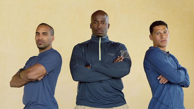 """The Football Players:  Robert Ortiz, Akbar Gbaja-Biamila, and Ricky Sharpe compete in """"Expedition Impossible."""""""