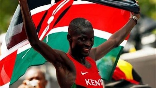 Kenya's Abel Kirui celebrates after winning the silver in the men's marathon at the London 2012 Olympics (Reuters)