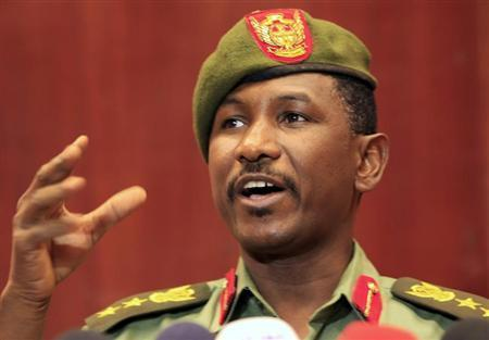Sudanese Army spokesman al-Sawarmi Khalid speaks during a news conference in Khartoum