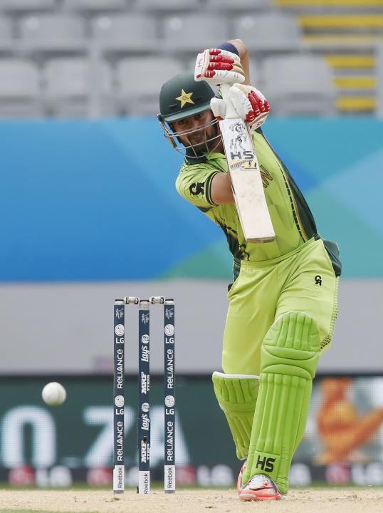 Pakistan's Ahmed Shahzad hits a four during their Cricket World Cup match against South Africa in Auckland