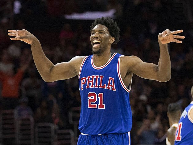 Joel Embiid celebrates six geese a-layin'. (Getty Images)