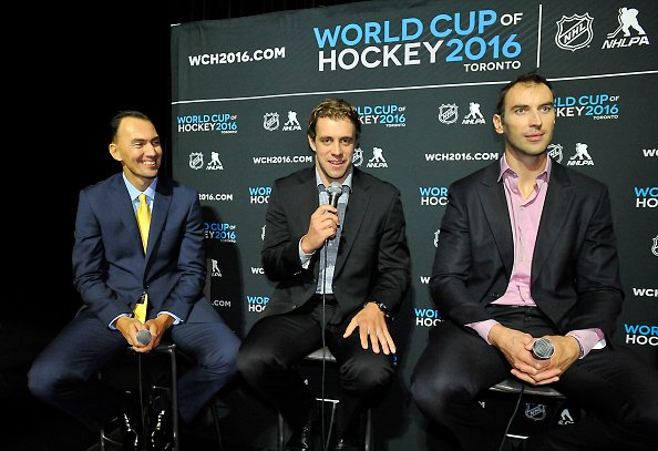 TORONTO, ON - SEPTEMBER 9: Miroslav Satan, Anze Kopitarr and Zdeno Chara of Team Europe andswer questions from the media during the World Cup of Hockey Media Event on September 9, 2015 at Air Canada Centre in Toronto, Ontario, Canada. (Photo by Graig Abel/NHLI via Getty Images)