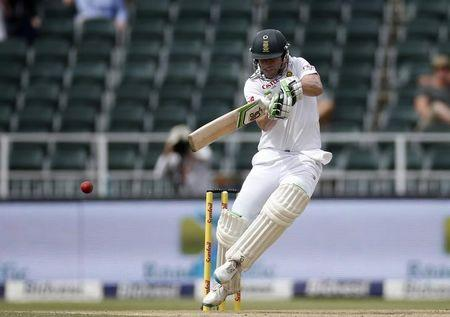 South Africa's de Villiers plays a shot during the third cricket test match against England in Johannesburg