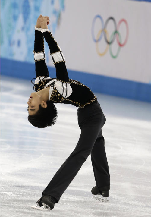 Michael Christian Martinez of the Philippines competes in the men's short program figure skating competition at the Iceberg Skating Palace during the 2014 Winter Olympics, Thursday, Feb. 13, 2014, in