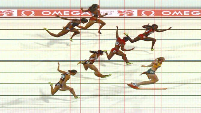 Australia's Sally Pearson wins the women's 100m hurdles final as seen in this official photo finish during the London 2012 Olympic Games