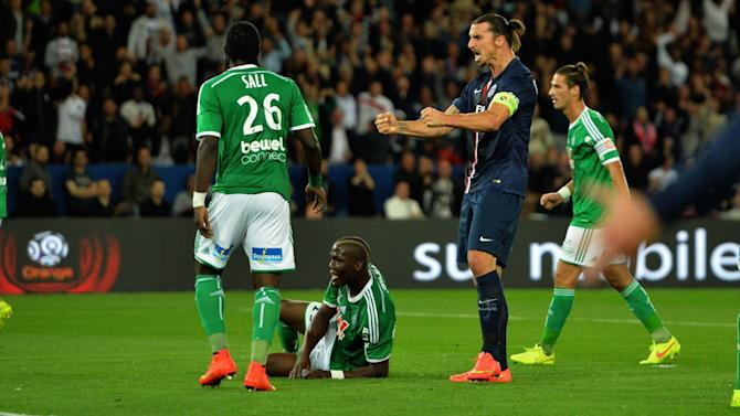 Football - Ruffier blunder sets PSG on way as Ibra grabs hat-trick