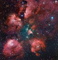 The Cat's Paw Nebula is shown in a combination of exposures from the MPG/ESO 2.2-metre telescope of the La Silla Observatory in Chile, July 9, 2012. The Very Large Telescope (VLT) array -- a cluster of four telescopes that can view objects four billion times fainter than objects visible to the naked eye -- is housed at the ESO's Paranal site in Chile's Atacama Desert
