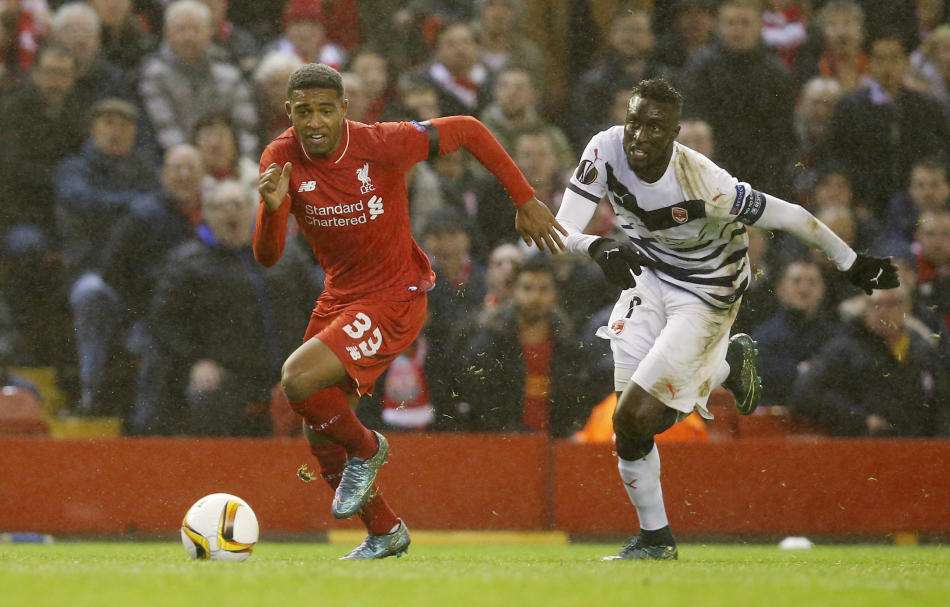 Liverpool's Jordon Ibe in action with Bordeaux's Ludovic Sane