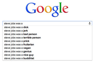 How Ashton Kutcher Saved Steve Jobs' Reputation image Steve Jobs Google Autosuggest