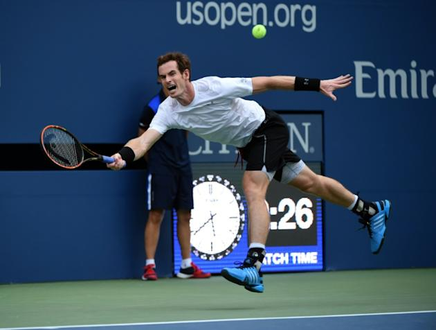 Andy Murray during his US Open match against Adrian Mannarino of France at the USTA Billie Jean King National Tennis Center September 3, 2015 in New York