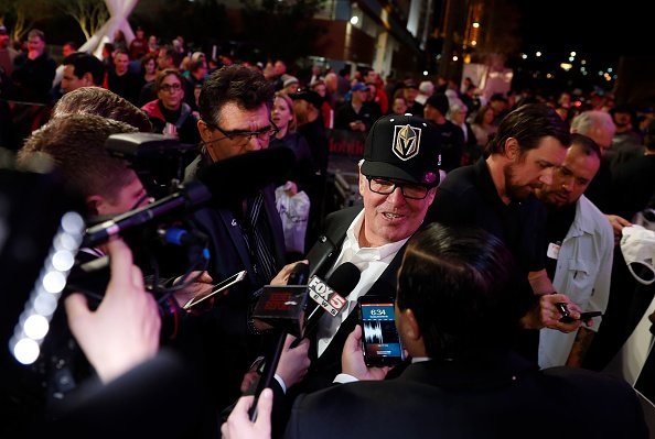 LAS VEGAS, NV - NOVEMBER 22: Majority owner Bill Foley speaks with members of the media after unveiling the new logo and name for the Vegas Golden Knights in Toshiba Plaza at T-Mobile Arena November 22, 2016 in Las Vegas, Nevada. The Golden Knights will begin play in the 2017-18 season. (Photo by Isaac Brekken/NHLI via Getty Images)
