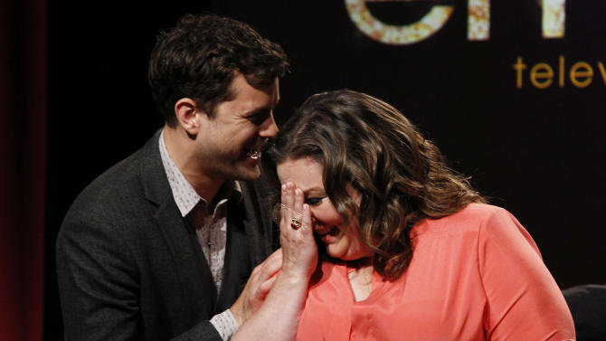 Actress Melissa McCarthy, right, is congratulated by Joshua Jackson after being nominated for Lead Actress in a Comedy Series during the nominations announcement the 63rd Primetime Emmy Awards at the Academy of Television Arts & Sciences in Los Angeles, Thursday, July 14, 2011. The show will be held on Sept. 28 at the Nokia Theater in Los Angeles. (AP Photo/Matt Sayles)