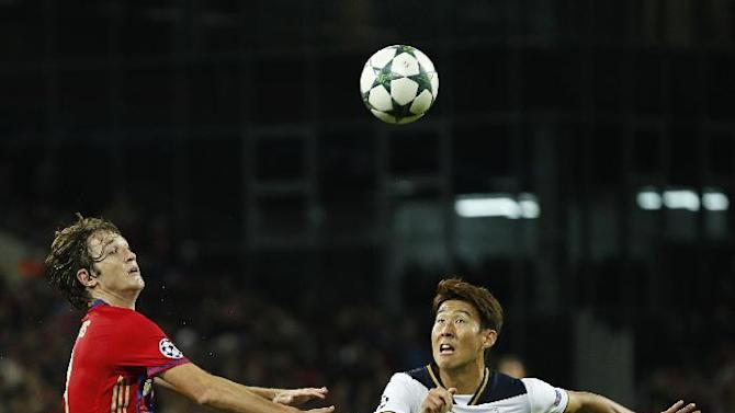 Tottenham's Son Heung-min in action with CSKA Moscow's Mario Fernandes