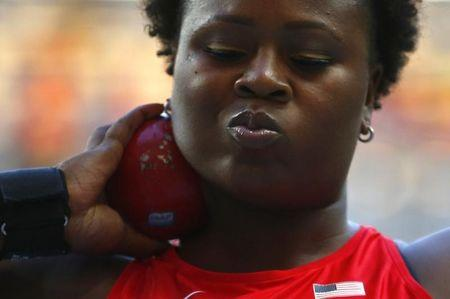 Carter of the U.S. competes in the women's shot put final during the IAAF World Athletics Championships in Moscow
