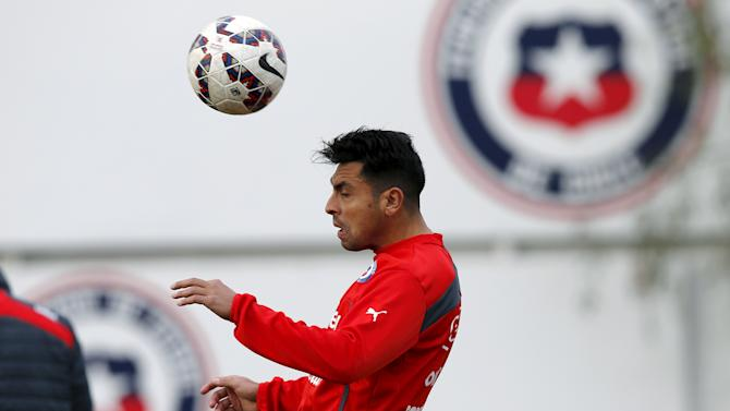 Chile's player Jara participates in a team training session in Santiago