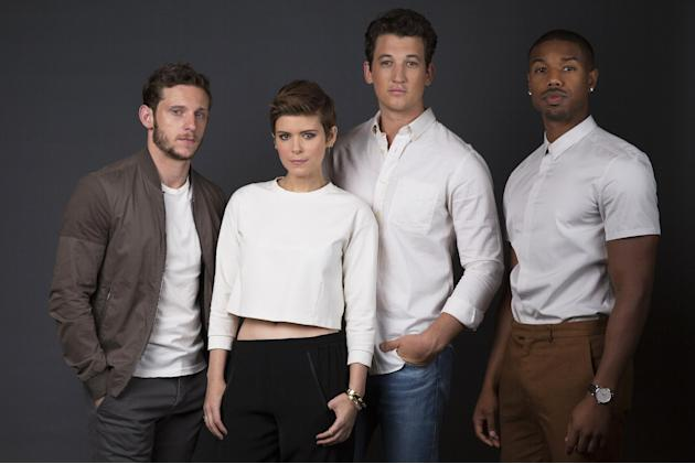 """In this Sunday, Aug. 2, 2015 photo, actors Jamie Bell, from left, Kate Mara, Miles Teller and Michael B. Jordan pose for a portrait in promotion of their role in the upcoming film """"Fantastic Four"""