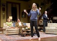 "This theater image released by Jeffrey Richards Associates shows, from left, Carrie Coon , Madison Dirks, Amy Morton and Tracy Letts in a scene from ""Who's Afraid of Virginia Woolf."" (AP Photo/Jeffrey Richards Associates, Michael Brosilow)"