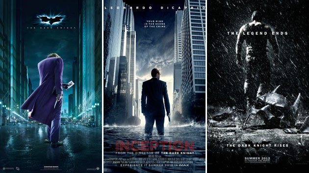 Looking at backs in the posters for 'The Dark Knight,' 'Inception' and 'The Dark Knight Rises'