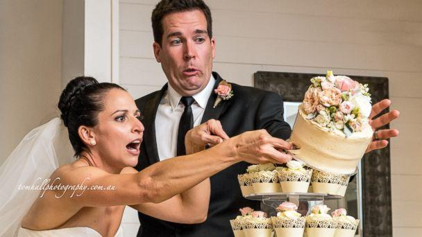 Couple's Epic Wedding Cake Cutting Fail Caught on Camera