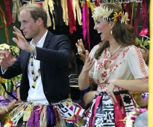 Prince William and Catherine dance during an event in Tuvalu on September 18
