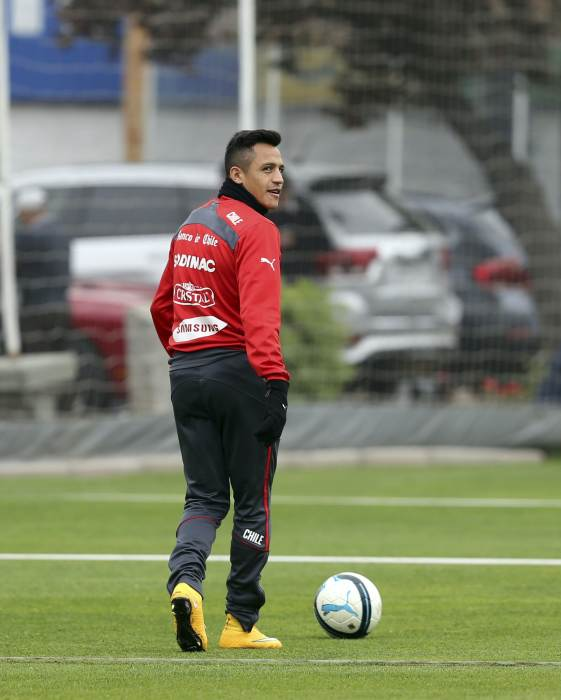 Chile's Alexis Sanchez attends a training session in Santiago