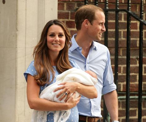 The Duke and Duchess of Cambridge leave the Lindo Wing of St Mary's Hospital in London, with their newborn son, Prince George of Cambridge.