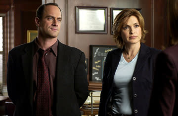 "Christopher Meloni as Detective Elliot Stabler and Mariska Hargitay as Detective Olivia Benson NBC's""Law and Order: Special Victims Unit"" <a href=""/baselineshow/4728792"">Law & Order: Special Victims Unit</a>"