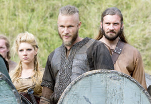 Katheryn Winnick, Travis Fimmel and Clive Standen   Photo Credits: Jonathan Hession / HISTORY