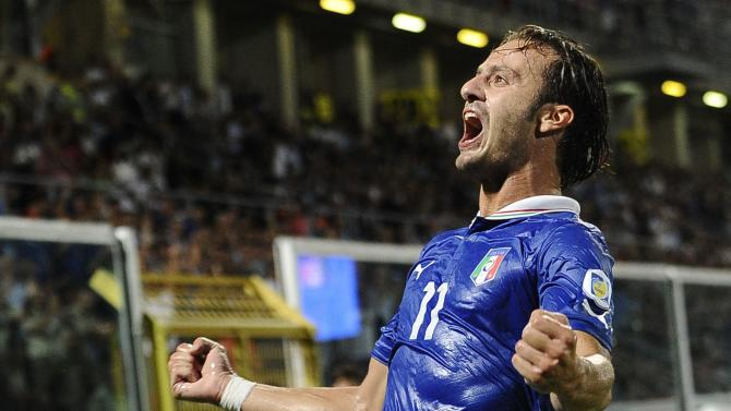 Italy's Gilardino celebrates after scoring against Bulgaria during their World Cup qualifying soccer match in Palermo
