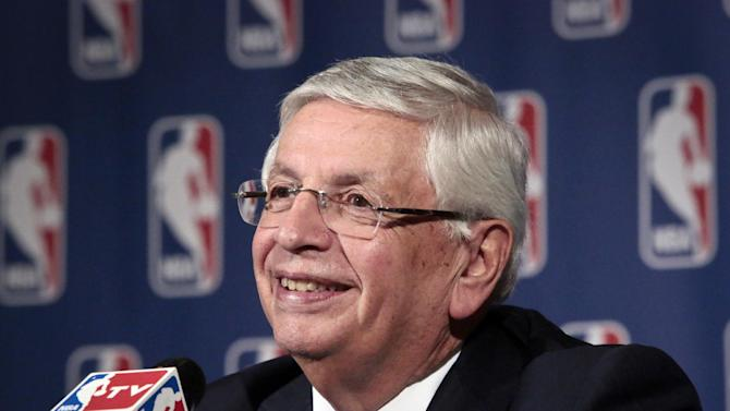 In this Oct. 23, 2013, file photo, NBA Commissioner David Stern smiles during a news conference after an NBA board of governors meeting in New York. The recently retired Stern was elected Friday, Feb. 14, 2014, to the Naismith Memorial Basketball Hall of Fame and will be enshrined with the class of 2014
