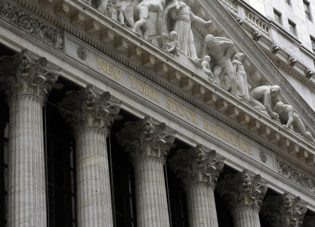 FILE - This Thursday, Oct. 2, 2014, file photo, shows the facade of the New York Stock Exchange. U.S. stock indexes edged slightly lower in early trading Friday, Feb. 27, 2015, after the U.S. economy