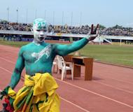 A Togolese supporter at the qualifier against Gabon on October 14, 2012 in Lome. South Africa count down 30 days to the Africa Cup of Nations on Wednesday with no doubt over their ability to host but little of the bursting energy the nation experienced before the 2010 World Cup