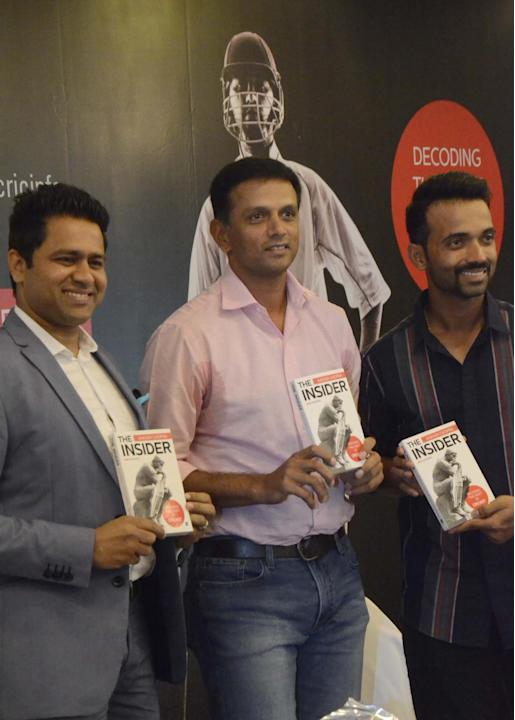 Mumbai: India A and Under-19 cricket teams' head coach Rahul Dravid, former India opener Aakash Chopra and Indian cricketer Ajinkya Rahane at the launch of Aakash Chopra`s book `The Aakash Choppra