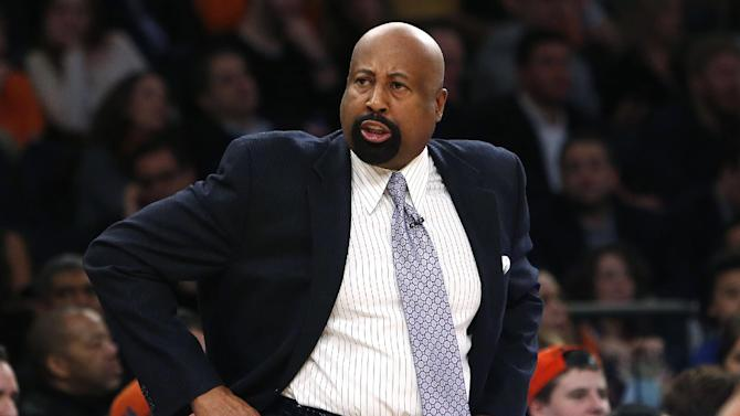 New York Knicks coach Mike Woodson reacts during the first half of an NBA basketball game against the Miami Heat on Saturday, Feb. 1, 2014, in New York. Miami won 106-91