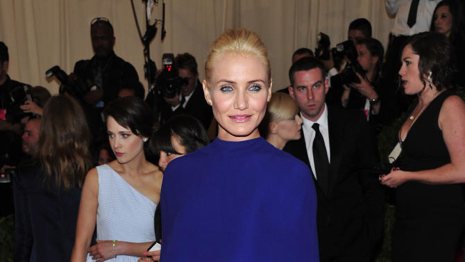 """Cameron Diaz attends The Metropolitan Museum of Art's Costume Institute benefit celebrating """"PUNK: Chaos to Couture"""" on Monday May 6, 2013 in New York. (Photo by Charles Sykes/Invision/AP)"""