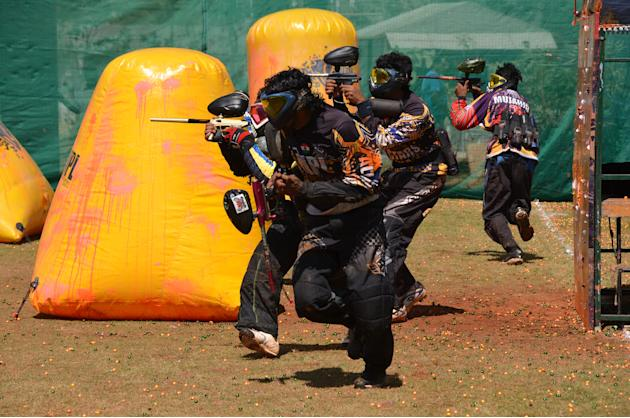 Action from the International Paintball Indian Open 2012. Team Raskals from Malaysia took the title in a hard fought battle with the Tsunami of Australia. NPL All Stars our India representatives came