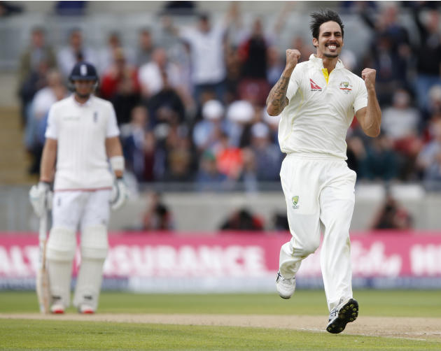 Australia's Mitchell Johnson celebrates after dismissing England's Ben Stokes (not pictured)