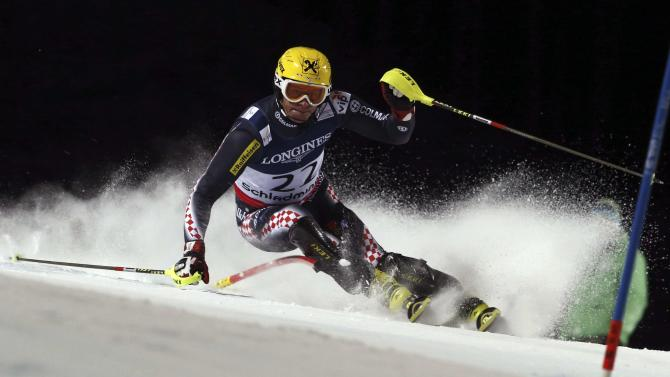 Croatia's Ivica Kostelic competes in the slalom portion of the men's super-combined, at the Alpine skiing world championships in Schladming, Austria, Monday, Feb.11, 2013. (AP Photo/Alessandro Trovati)