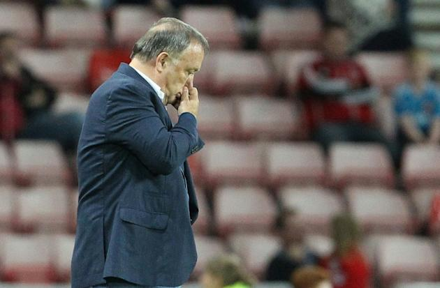 Sunderland's Dutch manager Dick Advocaat gestures during an English League Cup second round football match at the Stadium of Light in Sunderland, England on August 25, 2015